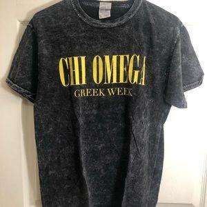 Gray Acid Wash Chi Omega T-shirt .
